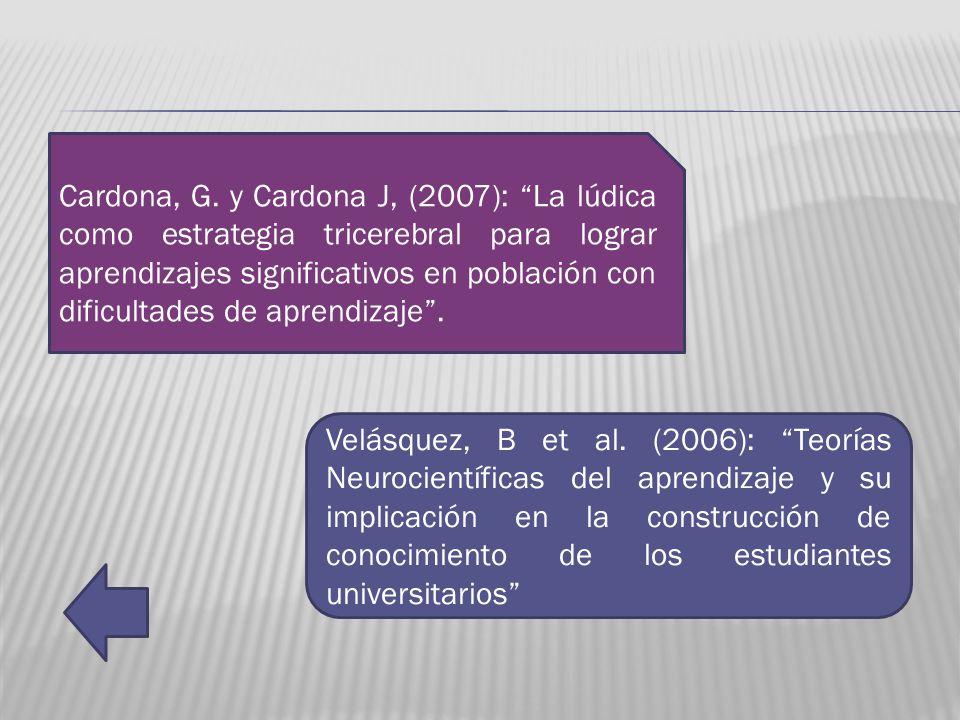 Cardona, G. y Cardona J, (2007): La lúdica como estrategia tricerebral para lograr aprendizajes significativos en población con dificultades de aprend