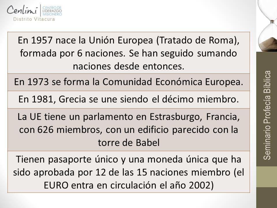 En 1957 nace la Unión Europea (Tratado de Roma), formada por 6 naciones. Se han seguido sumando naciones desde entonces. En 1973 se forma la Comunidad