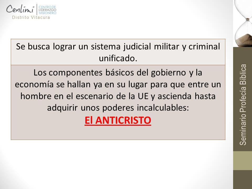 - Se busca lograr un sistema judicial militar y criminal unificado. Los componentes básicos del gobierno y la economía se hallan ya en su lugar para q