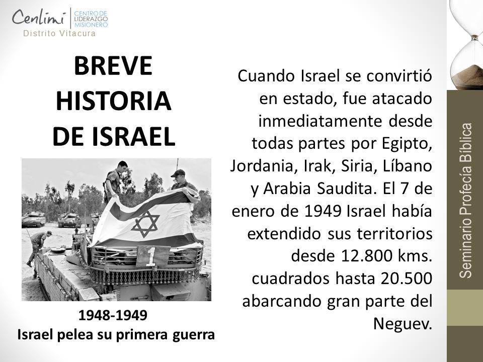 BREVE HISTORIA DE ISRAEL Cuando Israel se convirtió en estado, fue atacado inmediatamente desde todas partes por Egipto, Jordania, Irak, Siria, Líbano