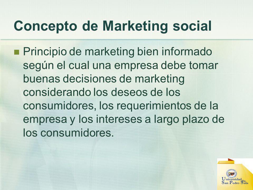 Concepto de Marketing social Principio de marketing bien informado según el cual una empresa debe tomar buenas decisiones de marketing considerando lo