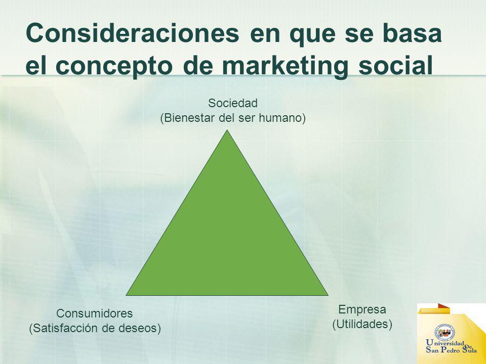 Consideraciones en que se basa el concepto de marketing social Sociedad (Bienestar del ser humano) Empresa (Utilidades) Consumidores (Satisfacción de