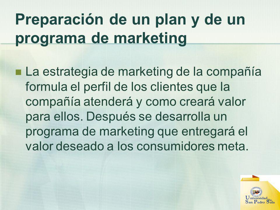 Preparación de un plan y de un programa de marketing La estrategia de marketing de la compañía formula el perfil de los clientes que la compañía atend
