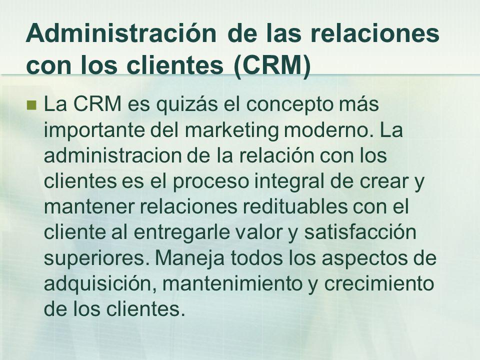 Administración de las relaciones con los clientes (CRM) La CRM es quizás el concepto más importante del marketing moderno. La administracion de la rel