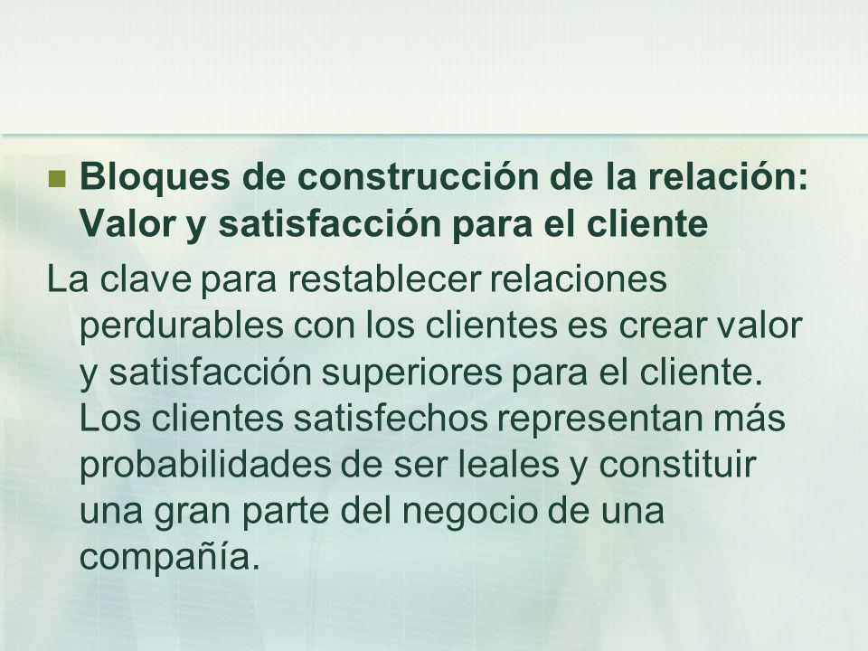 Bloques de construcción de la relación: Valor y satisfacción para el cliente La clave para restablecer relaciones perdurables con los clientes es crea