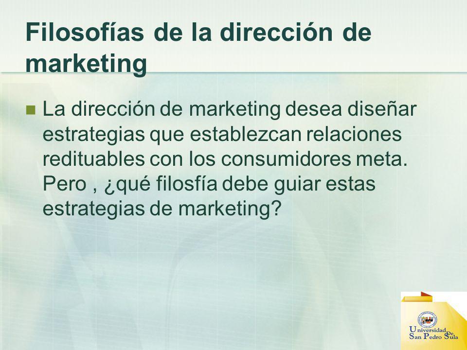 Filosofías de la dirección de marketing La dirección de marketing desea diseñar estrategias que establezcan relaciones redituables con los consumidore