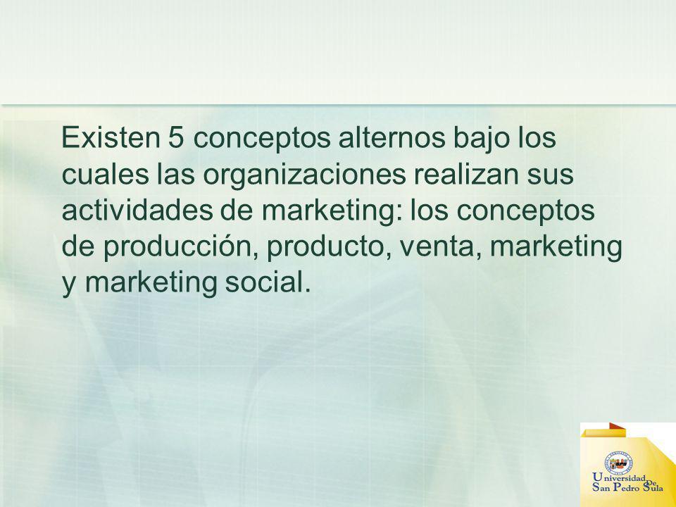 Existen 5 conceptos alternos bajo los cuales las organizaciones realizan sus actividades de marketing: los conceptos de producción, producto, venta, m