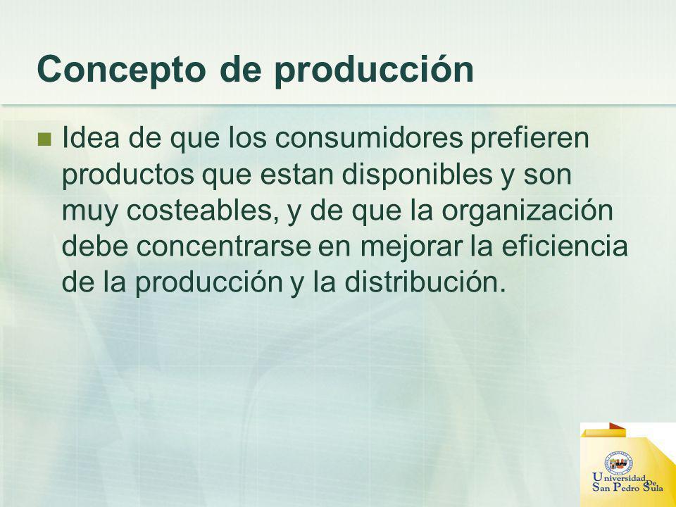 Concepto de producción Idea de que los consumidores prefieren productos que estan disponibles y son muy costeables, y de que la organización debe conc