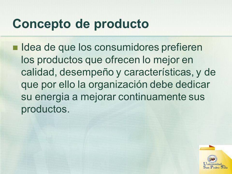 Concepto de producto Idea de que los consumidores prefieren los productos que ofrecen lo mejor en calidad, desempeño y características, y de que por e
