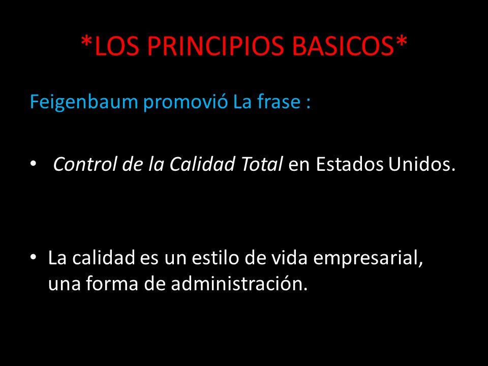 *LOS PRINCIPIOS BASICOS* Feigenbaum promovió La frase : Control de la Calidad Total en Estados Unidos. La calidad es un estilo de vida empresarial, un