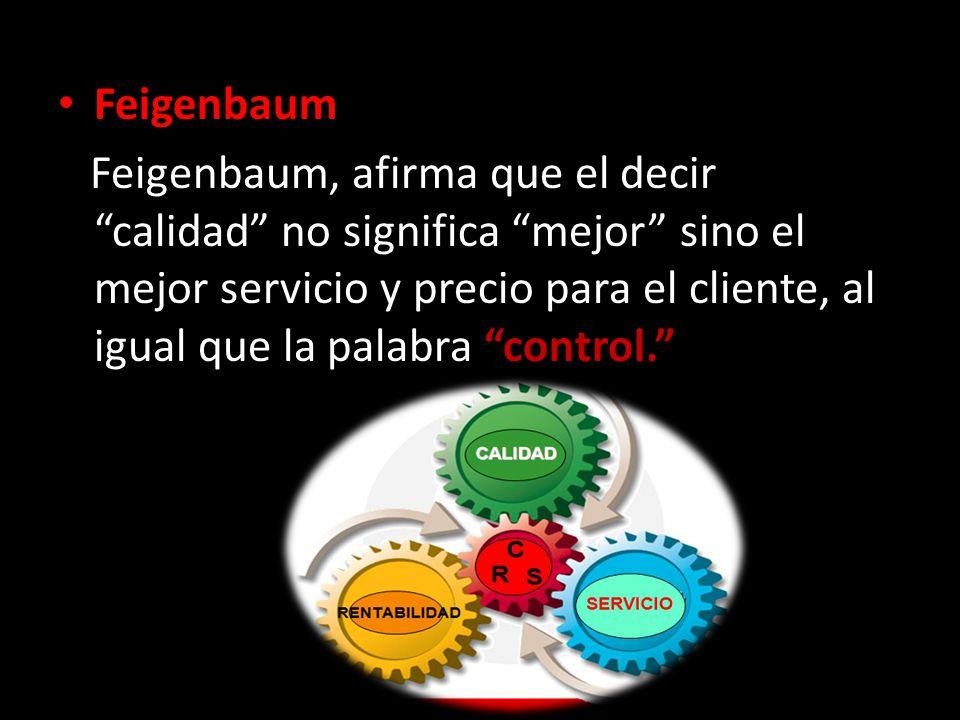 Feigenbaum Feigenbaum, afirma que el decir calidad no significa mejor sino el mejor servicio y precio para el cliente, al igual que la palabra control