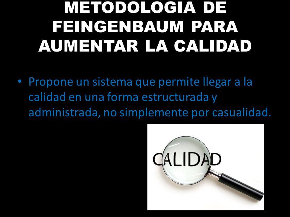 METODOLOGIA DE FEINGENBAUM PARA AUMENTAR LA CALIDAD Propone un sistema que permite llegar a la calidad en una forma estructurada y administrada, no si