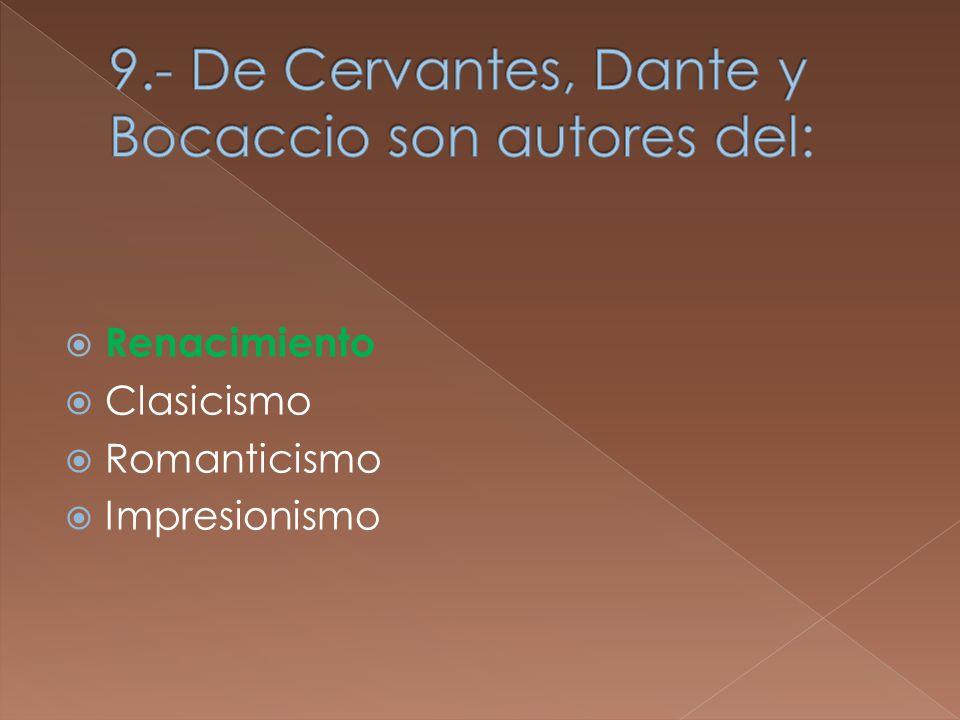Renacimiento Clasicismo Romanticismo Impresionismo