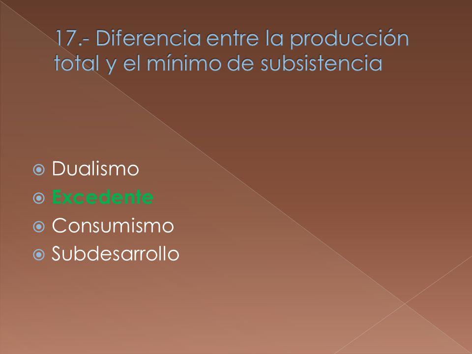 Dualismo Excedente Consumismo Subdesarrollo