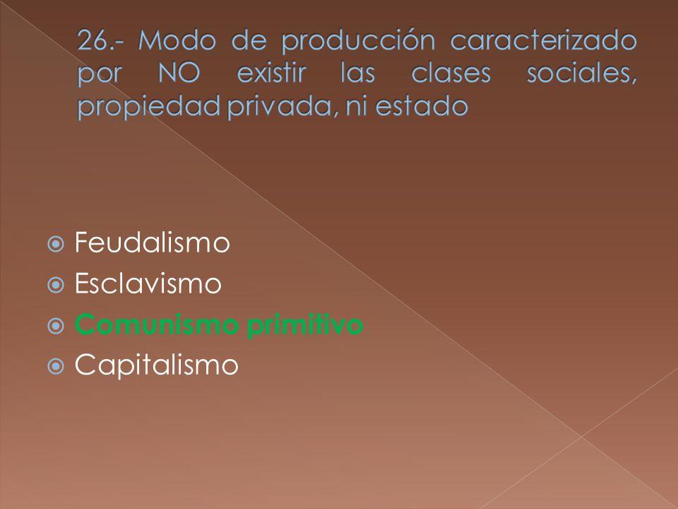 Feudalismo Esclavismo Comunismo primitivo Capitalismo