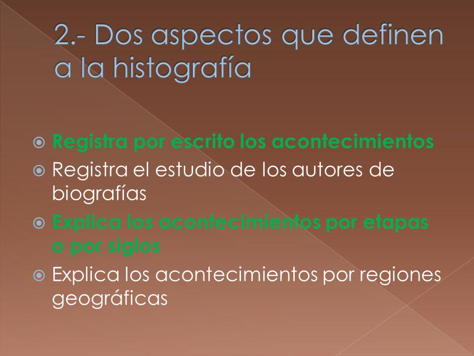 Registra por escrito los acontecimientos Registra el estudio de los autores de biografías Explica los acontecimientos por etapas o por siglos Explica los acontecimientos por regiones geográficas