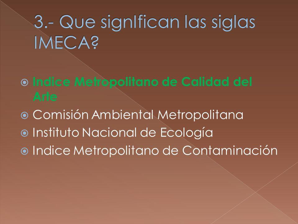 Indice Metropolitano de Calidad del Arte Comisión Ambiental Metropolitana Instituto Nacional de Ecología Indice Metropolitano de Contaminación