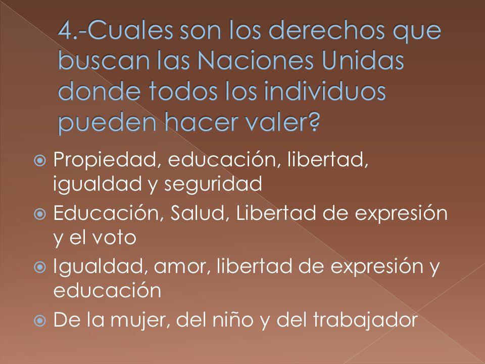 Propiedad, educación, libertad, igualdad y seguridad Educación, Salud, Libertad de expresión y el voto Igualdad, amor, libertad de expresión y educación De la mujer, del niño y del trabajador