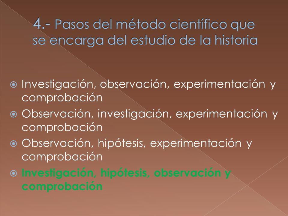 Investigación, observación, experimentación y comprobación Observación, investigación, experimentación y comprobación Observación, hipótesis, experimentación y comprobación Investigación, hipótesis, observación y comprobación