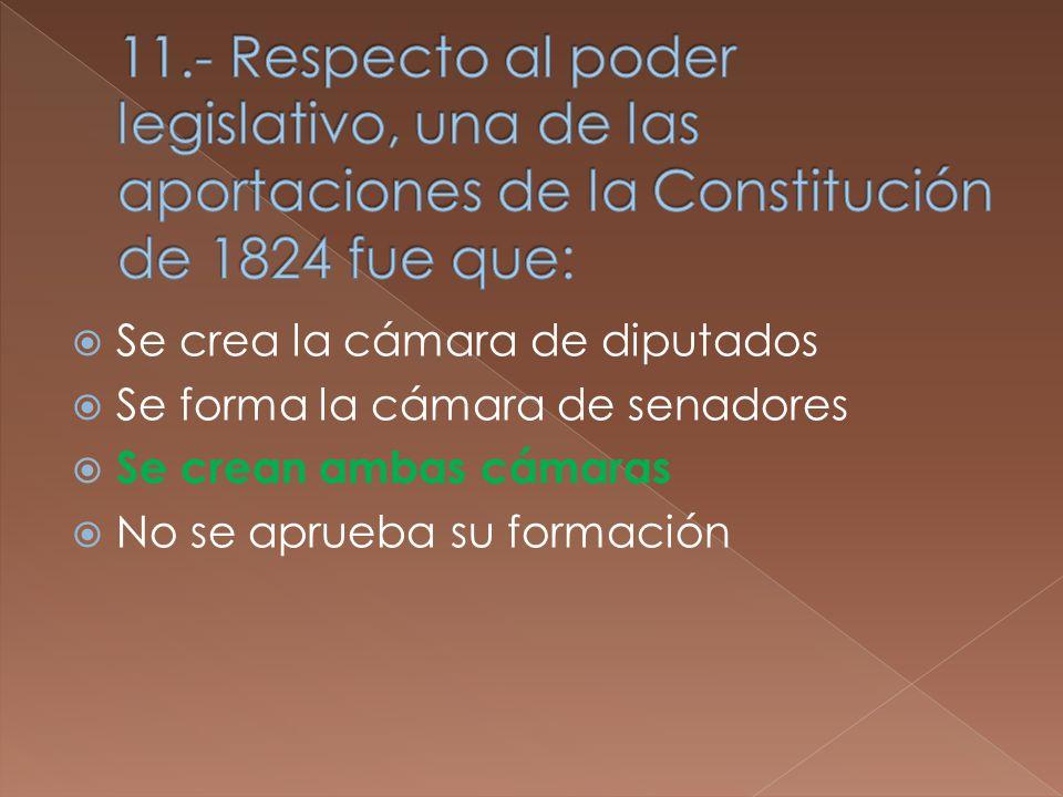 Se crea la cámara de diputados Se forma la cámara de senadores Se crean ambas cámaras No se aprueba su formación