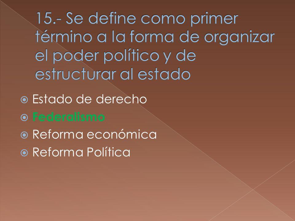 Estado de derecho Federalismo Reforma económica Reforma Política