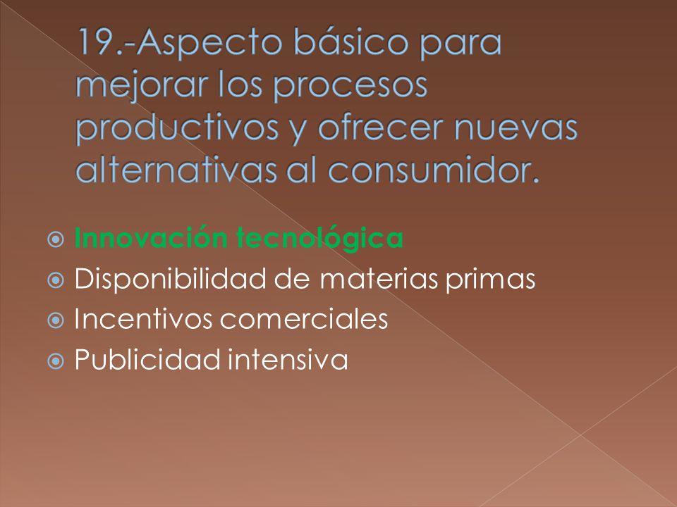 Innovación tecnológica Disponibilidad de materias primas Incentivos comerciales Publicidad intensiva