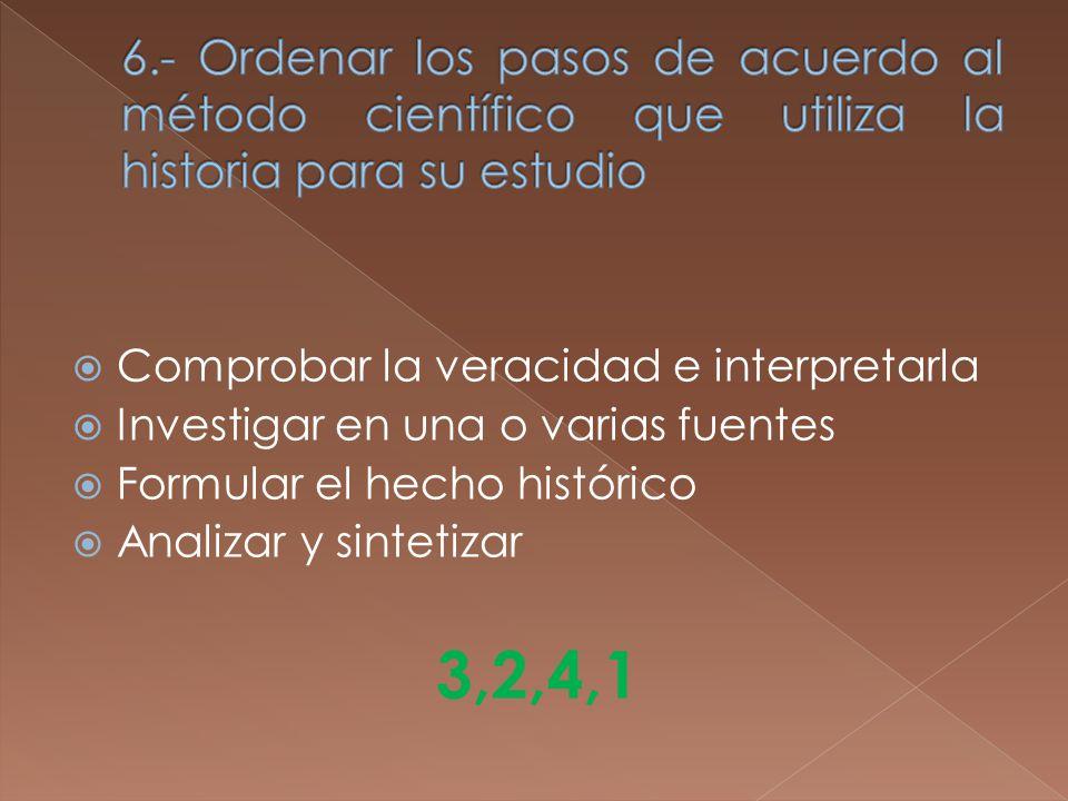 Comprobar la veracidad e interpretarla Investigar en una o varias fuentes Formular el hecho histórico Analizar y sintetizar 3,2,4,1