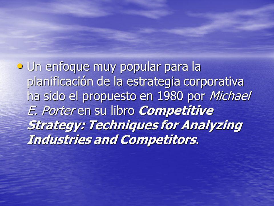 Un enfoque muy popular para la planificación de la estrategia corporativa ha sido el propuesto en 1980 por Michael E. Porter en su libro Competitive S