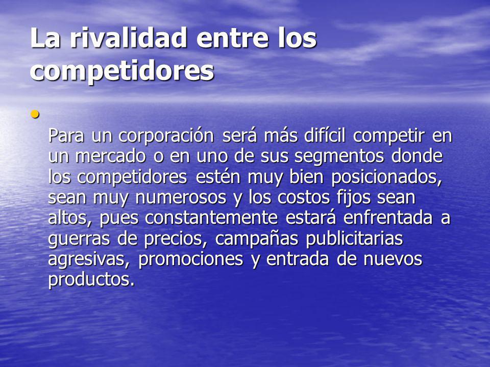 La rivalidad entre los competidores Para un corporación será más difícil competir en un mercado o en uno de sus segmentos donde los competidores estén