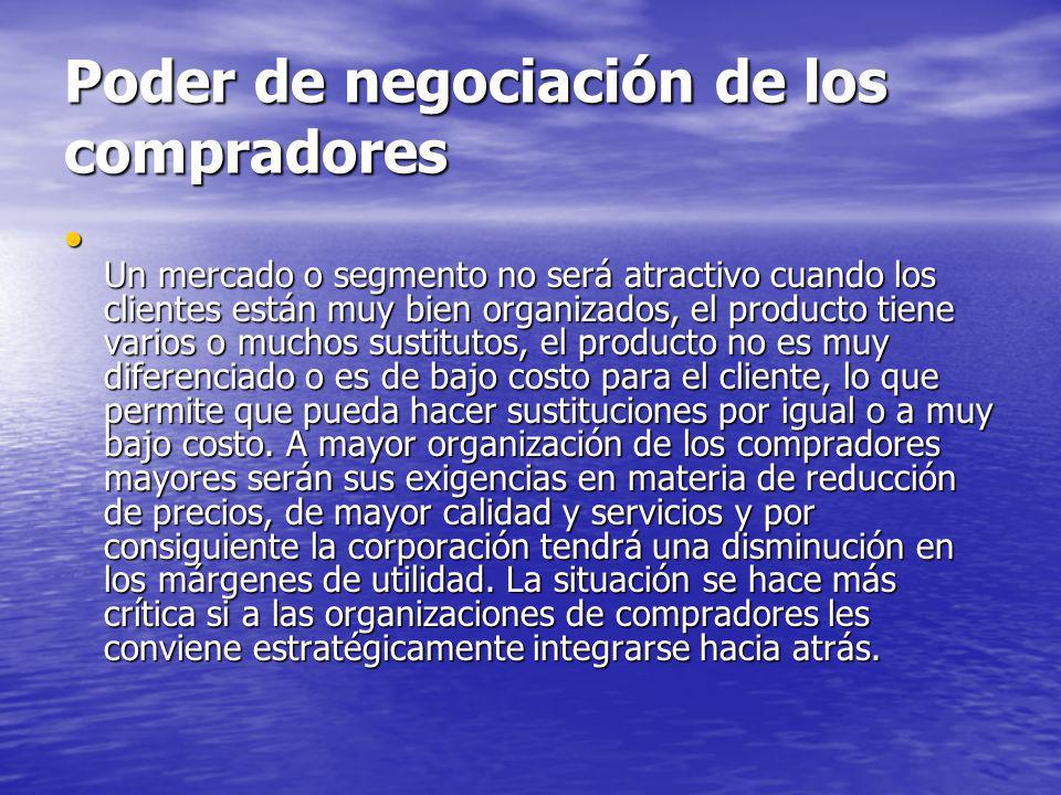 Poder de negociación de los compradores Un mercado o segmento no será atractivo cuando los clientes están muy bien organizados, el producto tiene vari