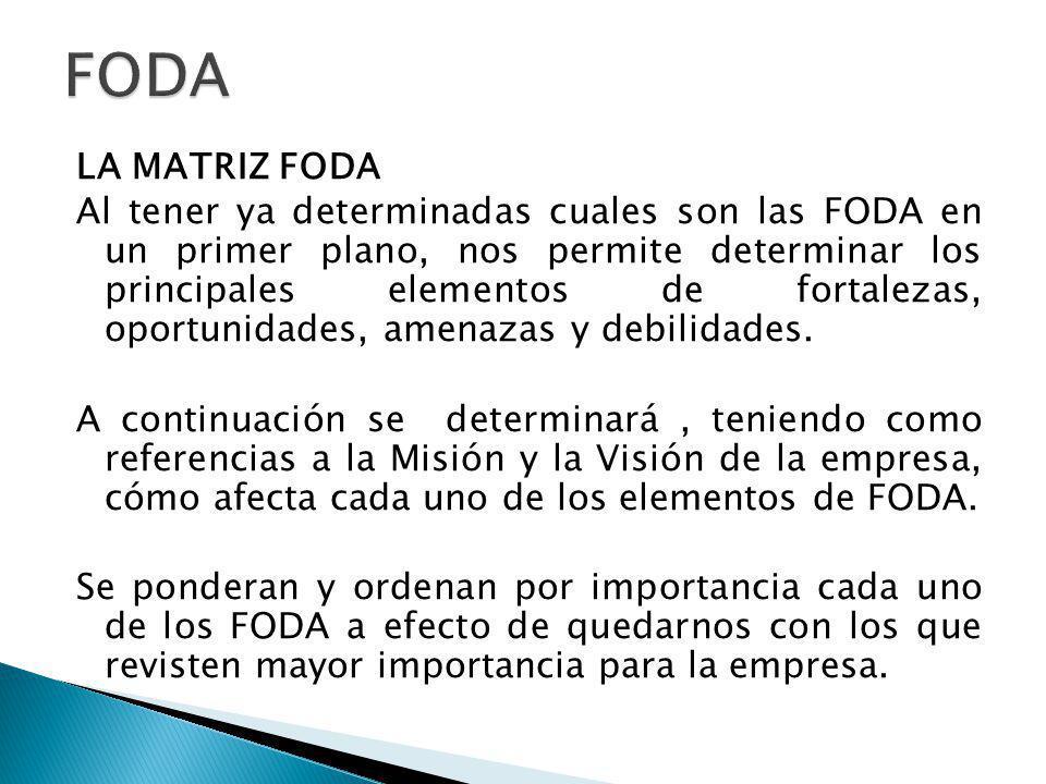 La Matriz FODA, nos indica cuatro estrategias alternativas conceptualmente distintas.