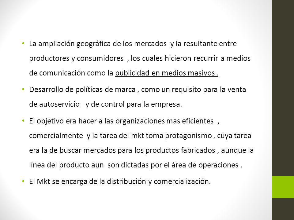 La ampliación geográfica de los mercados y la resultante entre productores y consumidores, los cuales hicieron recurrir a medios de comunicación como
