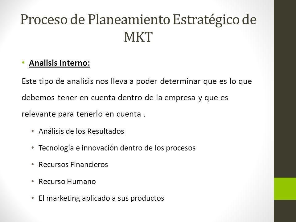 Proceso de Planeamiento Estratégico de MKT Analisis Interno: Este tipo de analisis nos lleva a poder determinar que es lo que debemos tener en cuenta