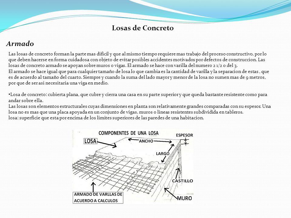 Características del armado de una losa Columpios: la medida de L sera de 1/5 de la longitud ya sea del lado horizontal o vertical de la losa.