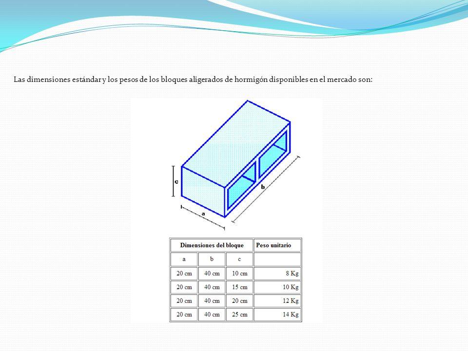 Las dimensiones estándar y los pesos de los bloques aligerados de hormigón disponibles en el mercado son: