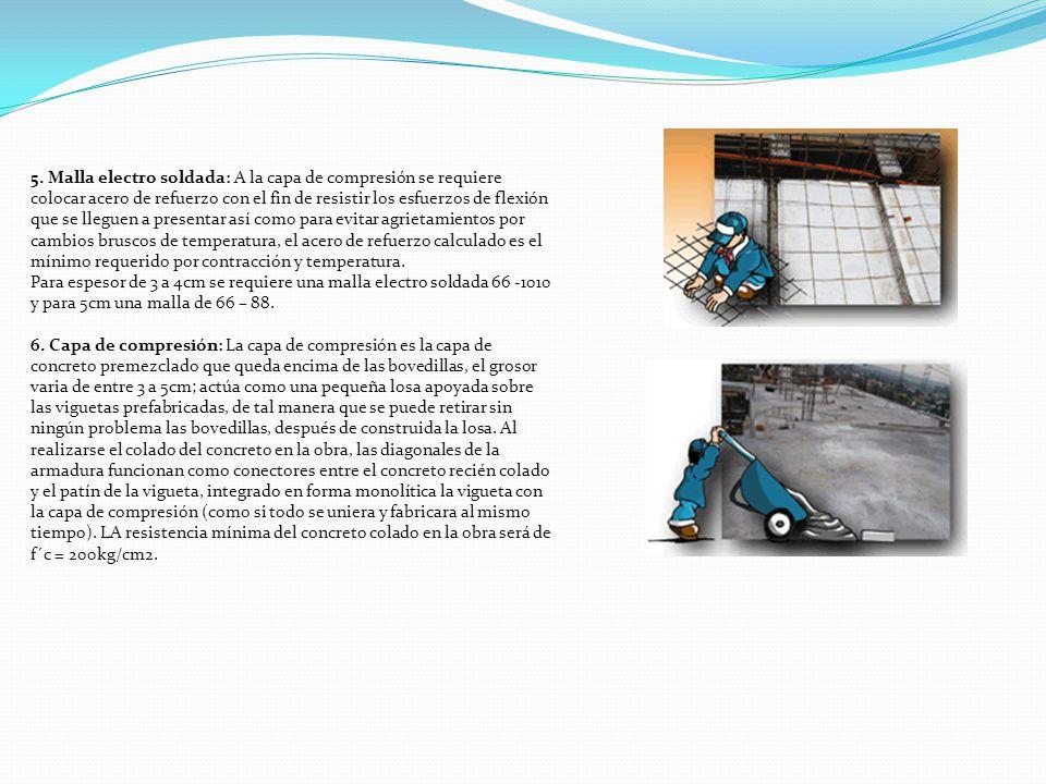 5. Malla electro soldada: A la capa de compresión se requiere colocar acero de refuerzo con el fin de resistir los esfuerzos de flexión que se lleguen
