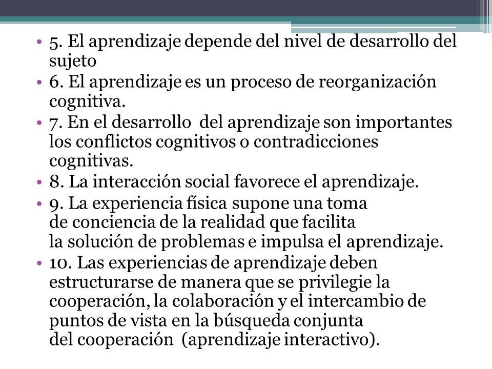5.El aprendizaje depende del nivel de desarrollo del sujeto 6.