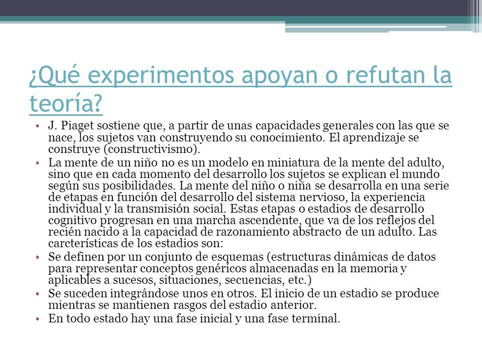 ¿Qué experimentos apoyan o refutan la teoría.J.