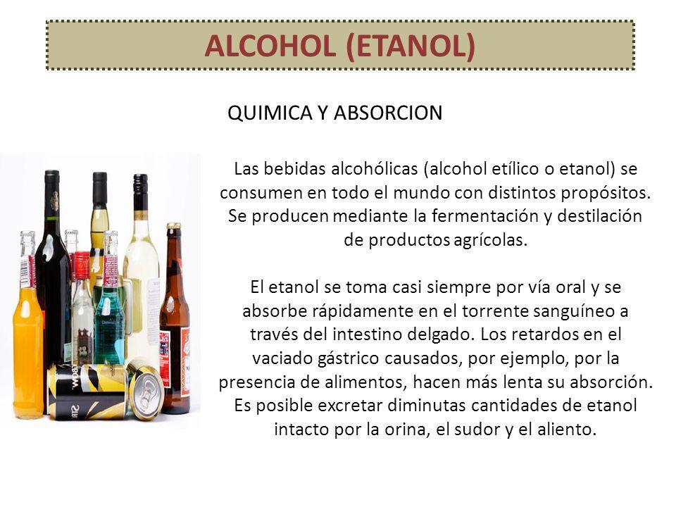 ALCOHOL (ETANOL) Las bebidas alcohólicas (alcohol etílico o etanol) se consumen en todo el mundo con distintos propósitos. Se producen mediante la fer