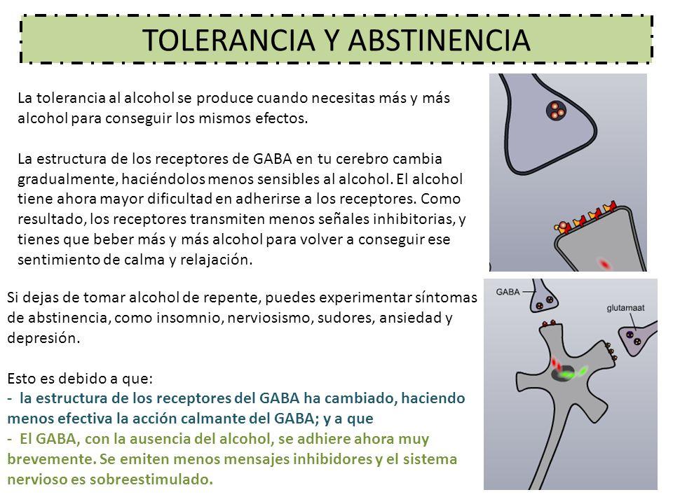 TOLERANCIA Y ABSTINENCIA La tolerancia al alcohol se produce cuando necesitas más y más alcohol para conseguir los mismos efectos. La estructura de lo