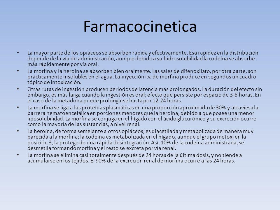 Farmacocinetica La mayor parte de los opiáceos se absorben rápida y efectivamente. Esa rapidez en la distribución depende de la vía de administración,