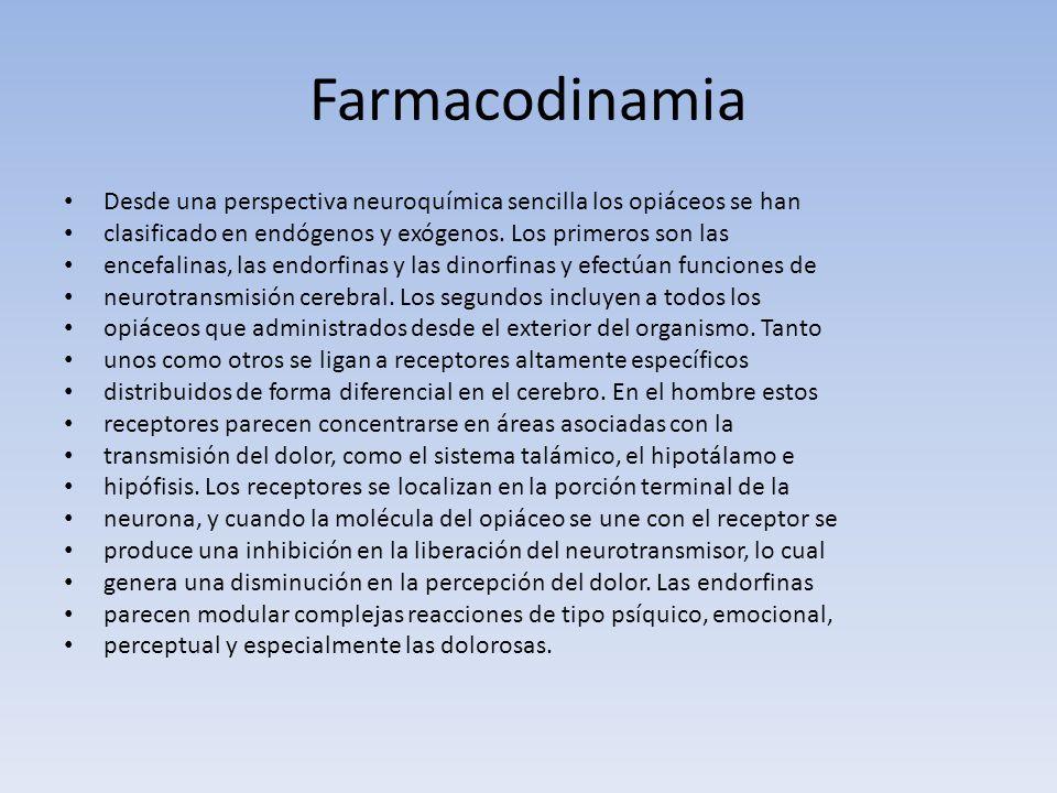 Farmacodinamia Desde una perspectiva neuroquímica sencilla los opiáceos se han clasificado en endógenos y exógenos. Los primeros son las encefalinas,