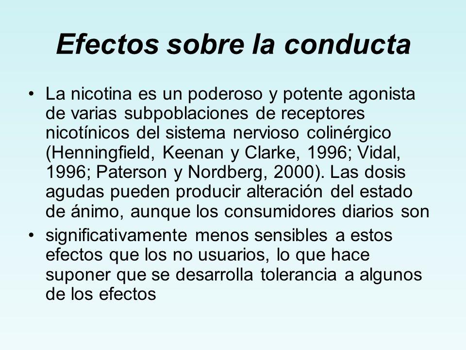Efectos sobre la conducta La nicotina es un poderoso y potente agonista de varias subpoblaciones de receptores nicotínicos del sistema nervioso coliné