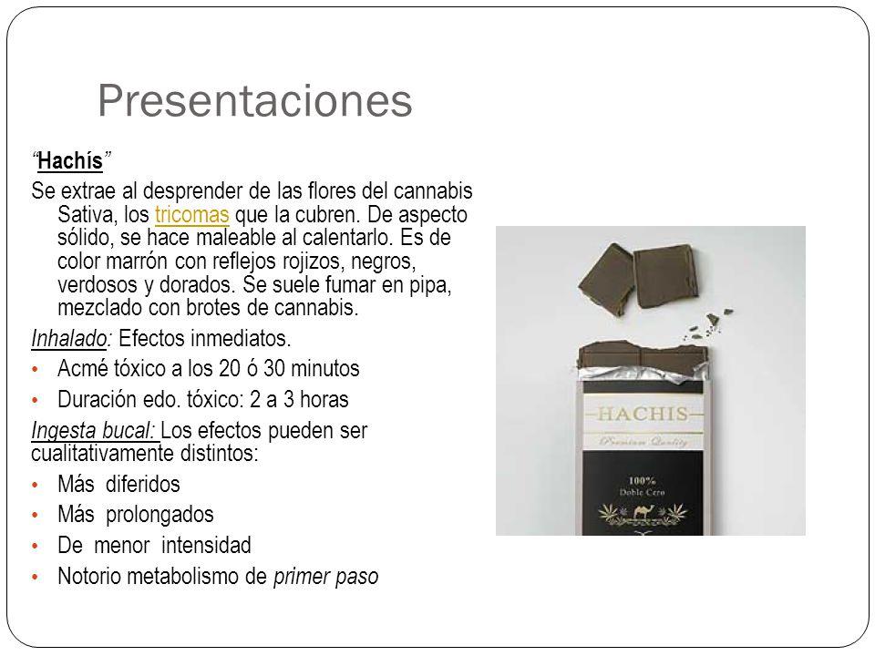 Presentaciones Hachís Se extrae al desprender de las flores del cannabis Sativa, los tricomas que la cubren. De aspecto sólido, se hace maleable al ca
