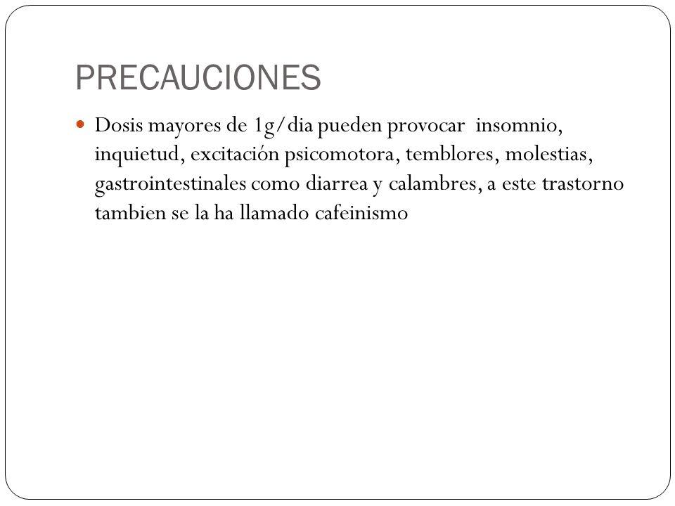 PRECAUCIONES Dosis mayores de 1g/dia pueden provocar insomnio, inquietud, excitación psicomotora, temblores, molestias, gastrointestinales como diarre