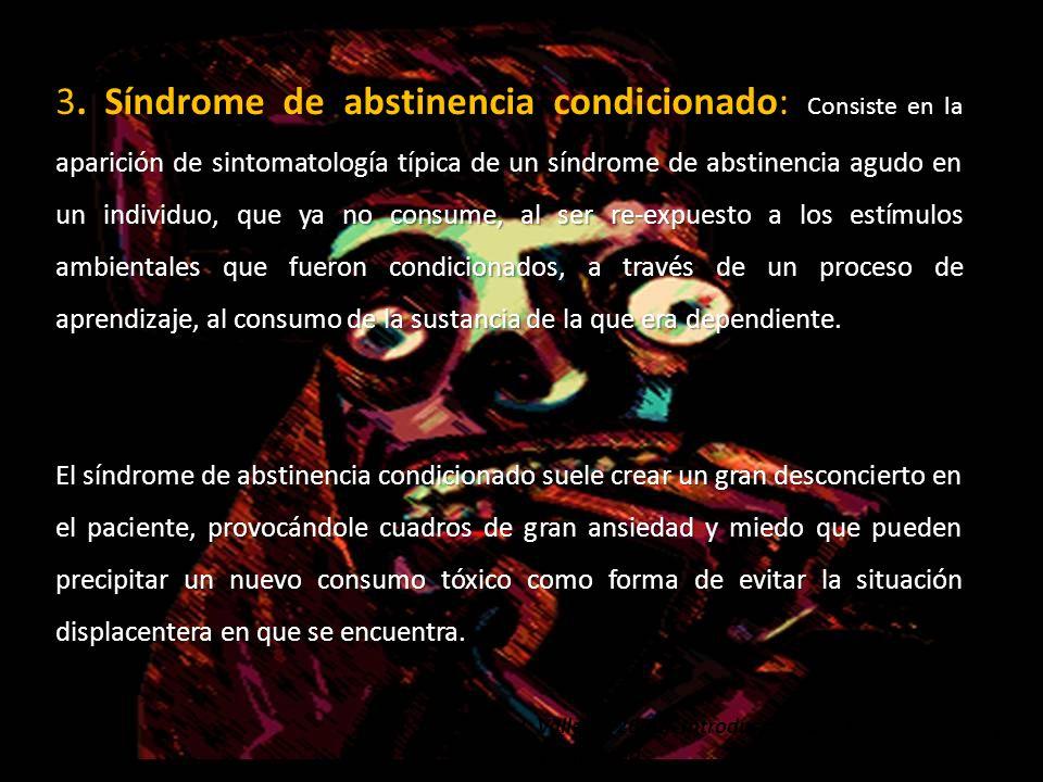 aparición de sintomatología típica de un síndrome de abstinencia agudo en un individuo, que ya no consume, al ser re-expuesto a los estímulos ambienta