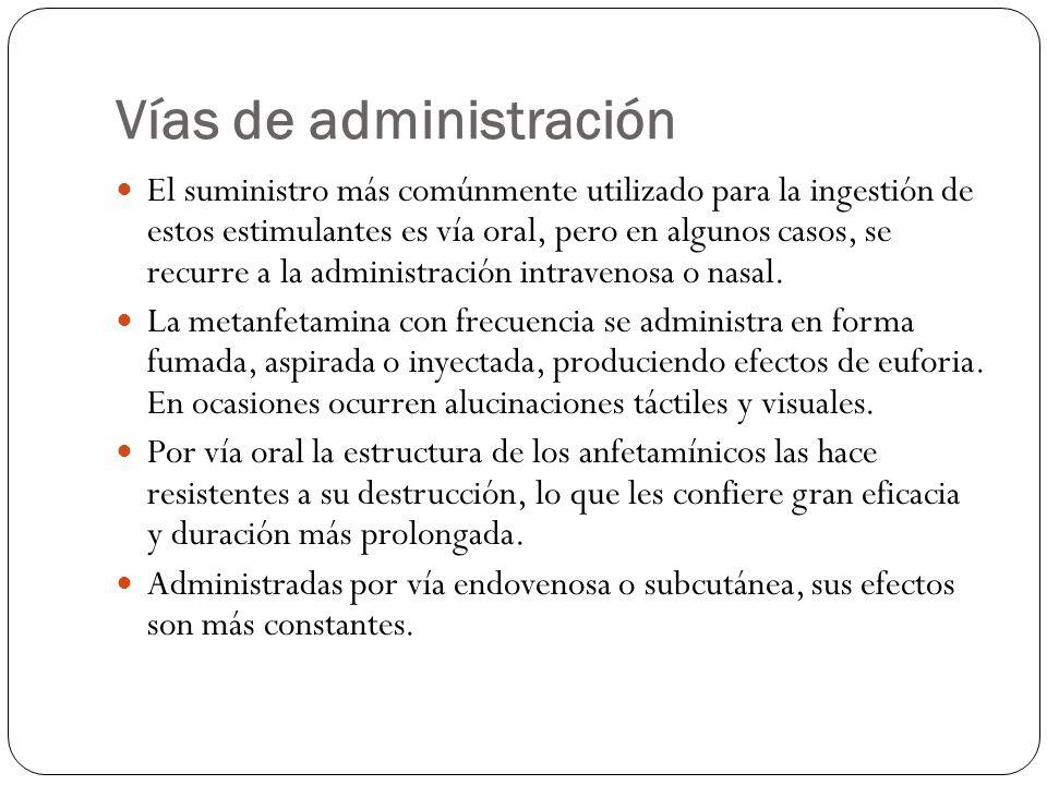 Vías de administración El suministro más comúnmente utilizado para la ingestión de estos estimulantes es vía oral, pero en algunos casos, se recurre a