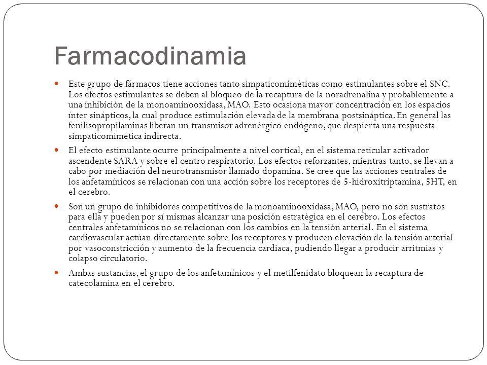Farmacodinamia Este grupo de fármacos tiene acciones tanto simpaticomiméticas como estimulantes sobre el SNC. Los efectos estimulantes se deben al blo
