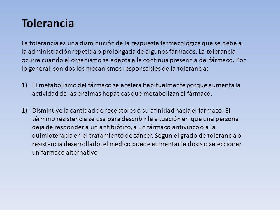 Tolerancia directa: estado de adaptación que se caracteriza por la disminución de la respuesta a una misma cantidad de droga o al requerimiento de dos
