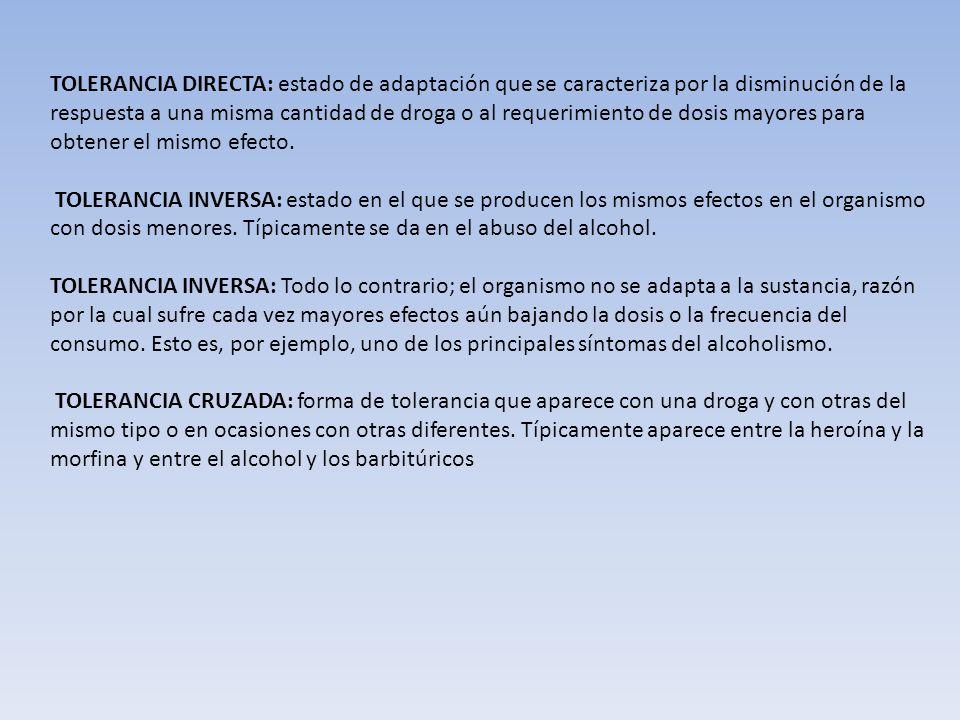 Tolerancia farmacológica Condición caracterizada por disminución en la capacidad de respuesta, la cual se adquiere después de un contacto repetido con